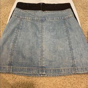 Free people light blue jean mini skirt